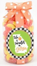Peach Gummy Rings Plastic Quart Jar