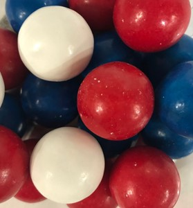 Red, White and Blue Colored Gumballs Paint Can
