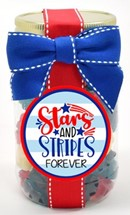 Red White & Blue Gummy Bears Plastic Pint Jar