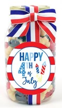 Red White & Blue Gummy Bears Plastic Quart Jar