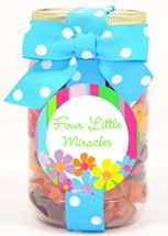 Small Gummy Flowers Plastic Pint Jar Custom